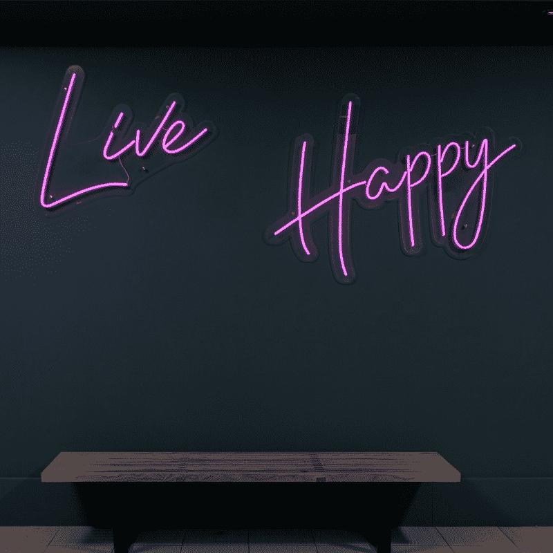 Live Happy violet italic text