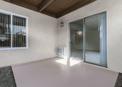 Private patios with sliding door & window