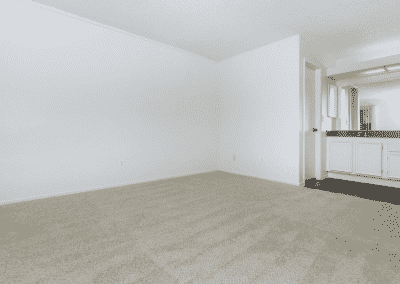 carpeted spacious living room