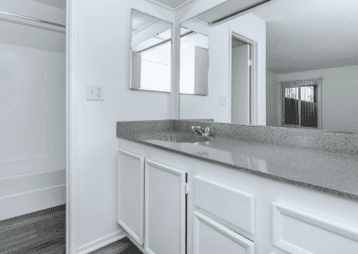 Marbled counter with wide mirror and sink