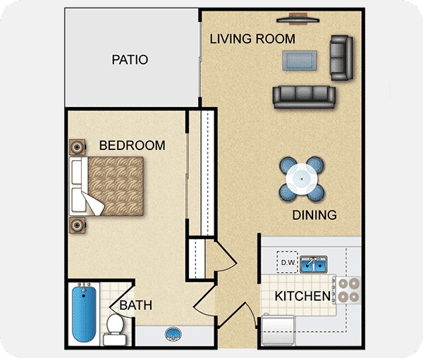 Plan A with 1 bed, 1 bath, 775 square feet