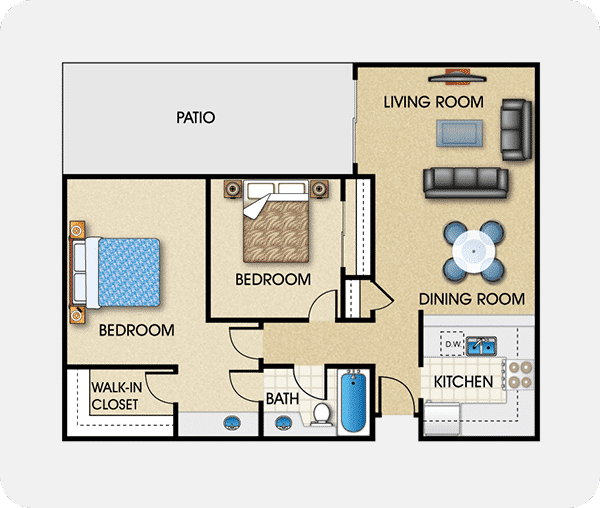 Plan B with 1 bed, 2 bath, 970 square feet